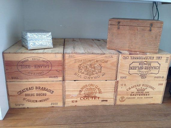 Vintage Original Wooden 12-bottle Wine Crate Box for DIY projects