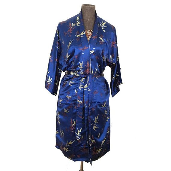 Vintage Chinese Short Robe Blue Silky Satin Dressing Robe