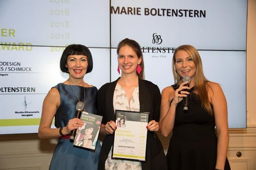 Best fashion & beauty destinations received Enjoy Awards 2018 by Shopping Guide Austria. One of the winners is jewelry designer Marie Boltenstern, head of design of Boltenstern... fig. from left: 'Shopping Guide' author Irmie Schüch-Schamburek, Marie Boltenstern and presenter Carina Schwarz at the Shopping Guide 2018 launch and Enjoy Awards event on 12 January 2018 at ViennaBallhaus, Berggasse 5 in the 9th district of Vienna. Photo: Gregor Turecek for Dodge and Burn.