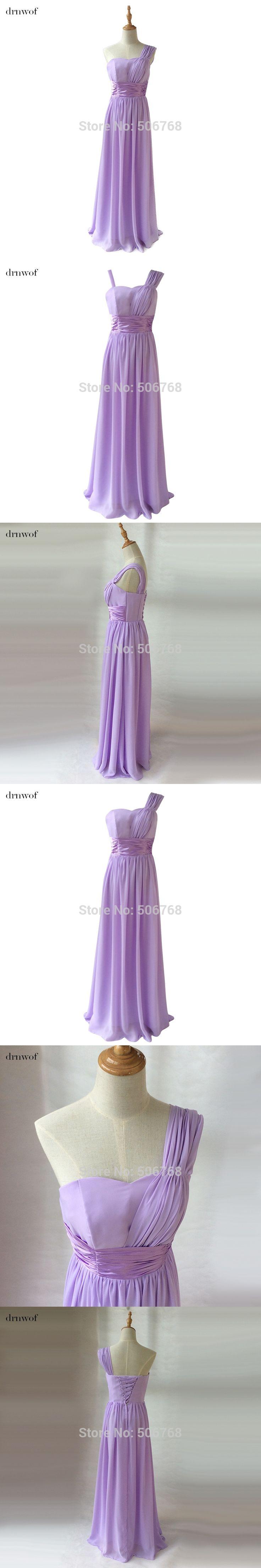 drnwof New Chiffon Ligth Purple Bridesmaid Dresses Long Cheap under 50 One Shoulder A-Line Sweetheart Wedding Party Dress Sale