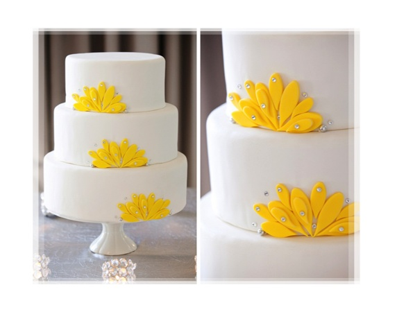 Modern Wedding Cake With Yellow Flower Petals by: Cutie Pie Cakes and Desserts