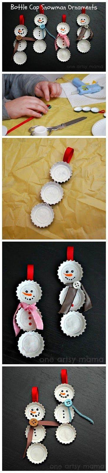 ARTE COM QUIANE - Paps,Moldes,E.V.A,Feltro,Costuras,Fofuchas 3D: Faça você também: Boneco de Neve feito de tampinha de refrigerante