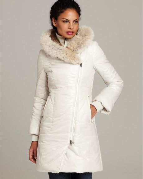 white down slim puffer coat women   ... Puffer Jacket with Coyote Fur Trimmed Hood in White (Off-White) - Lyst