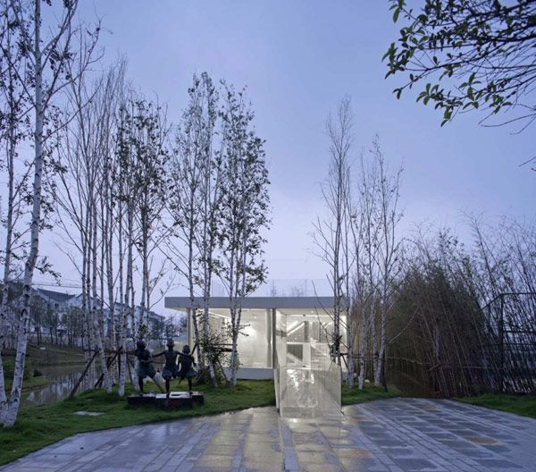 Architecture, Luxury Beautiful Terrace Glass House River Side Club Pool Forest Home Residential White Pergola Plant Architecture Courtyard Designer Contemporary Expensive Designs: Unfolding Contemporary Clubhouse in China Surrounded by Nature
