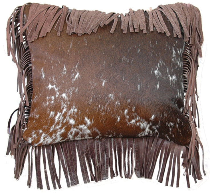Decorative Pillows With Fringe Part - 33: Hair On Hide Pillow With Leather Fringe
