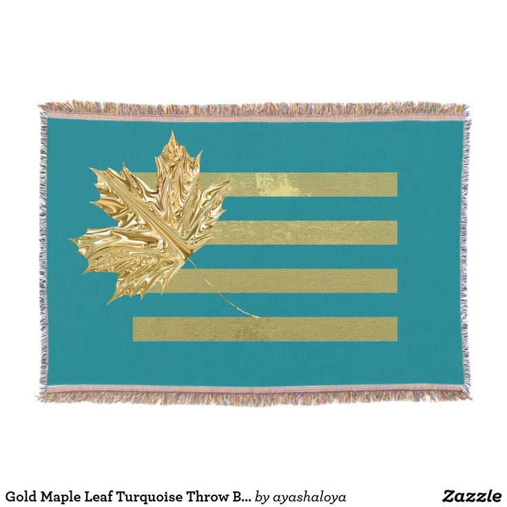Gold Maple Leaf Turquoise Throw Blanket