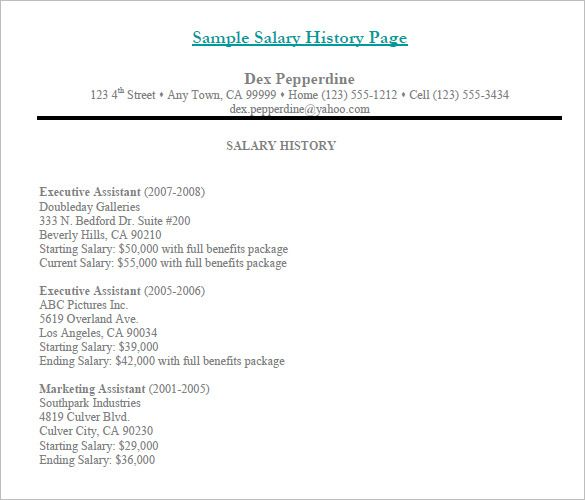 Salary History Template