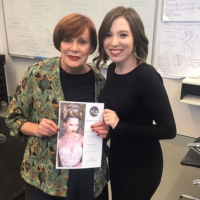 Our Sarah after a 3 day styling course with the master Sharon Blain!! #sharonblain #sharonblainway .  .  Do what you love and you will never work a day in your life  . .  .  #training #hairbyphd #upstyle #updo #weddinghair #bridalhair