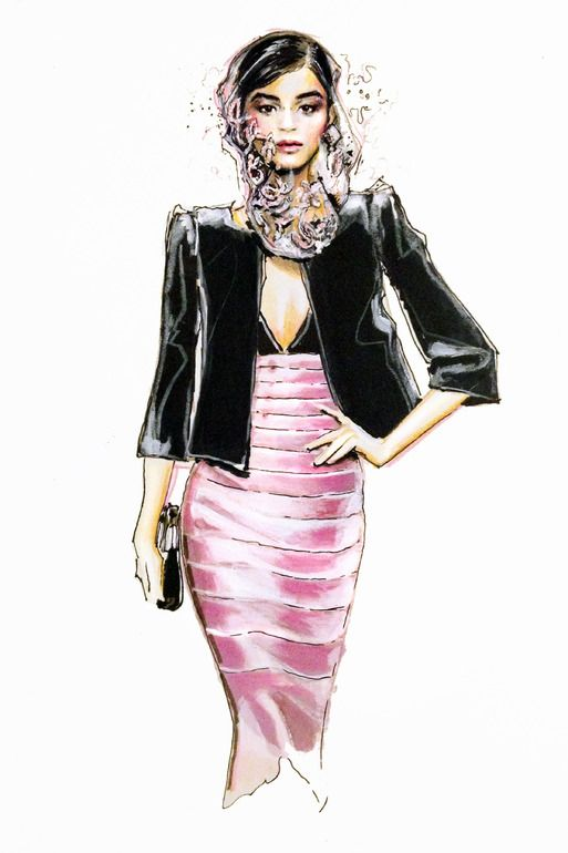 "Saatchi Online Artist: Jessica Rae Sommer; Colored Pencils, 2012, Drawing ""Fashion Illustration Armani 2"""