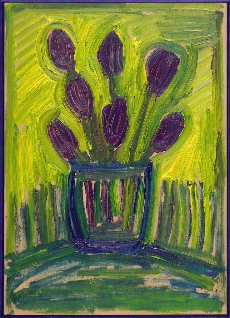 Herman van der avoort - Vaas met 'paarse' tulpen in groene omgeving