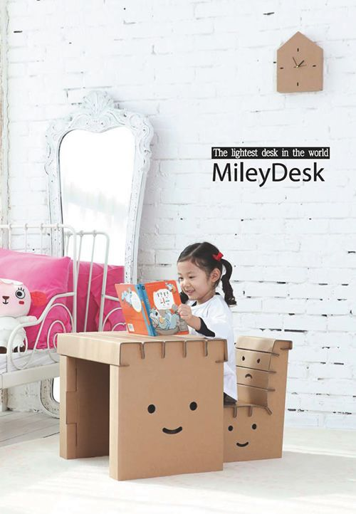 Recycle Cardboard Desk! I used to make little cars out of cardboard when I was younger. The good old days(: