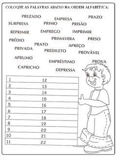 CLUBE DA COR ATIVIDADES ESCOLARES: 20 ATIVIDADES DE PORTUGUÊS ORDEM ALFABÉTICA , PRONTAS PARA IMPRIMIR (10-15)
