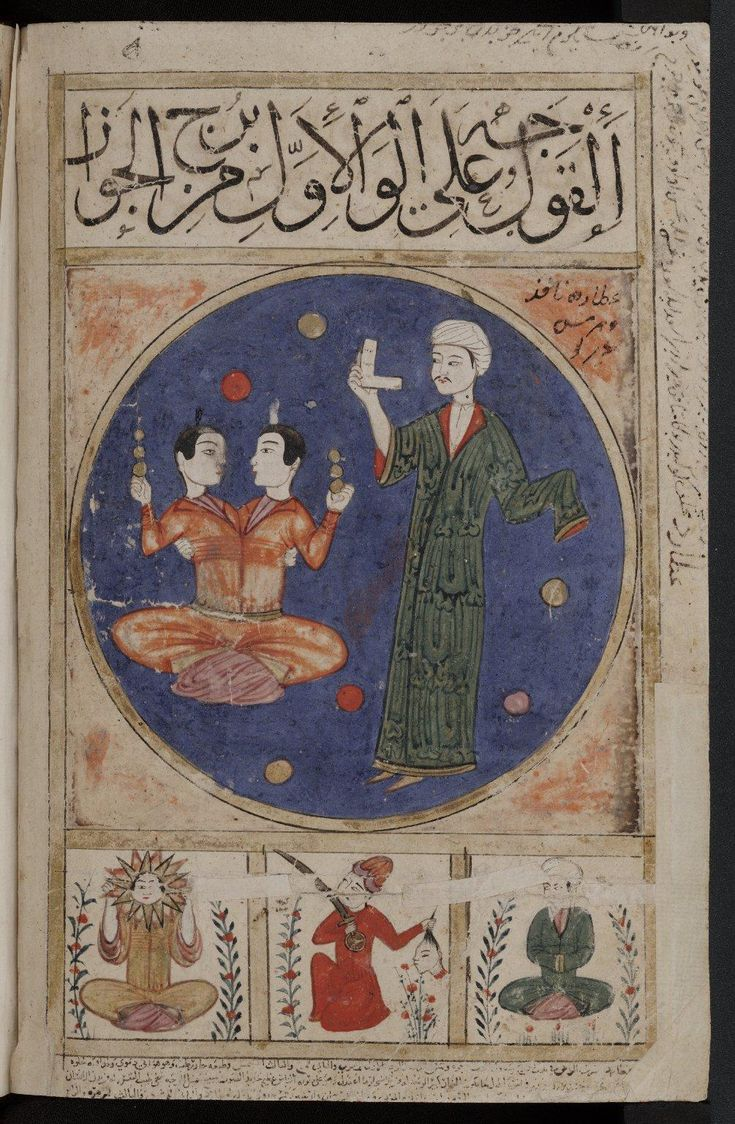Signs of the zodiac: Gemini, or al-Gawāz. Zodiac picture. From a 15th-century Arabic collectaneous manuscript known as Kitab al-bulhan.
