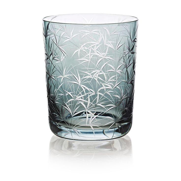 BAMBOU |  Handmade Glass Blown Medium Tumbler, Bambou-Grey 1923, height: 100 mm | top diameter: 82 mm | volume: 330 ml | Bohemian Crystal | Crystal Glass | Luxurious Glass | Hand Engraved | Original Gift for Everyone | clarescoglass.com