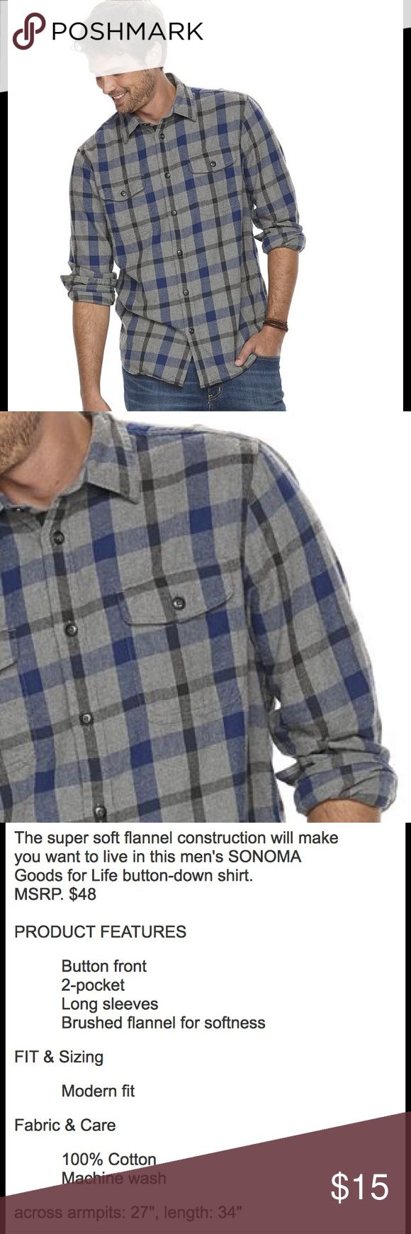 SONONA Men's XLT Modern-Fit Flannel Shirt NWT Brand new with tag. Please refer to pictures for details and description Sonoma Shirts Casual Button Down Shirts