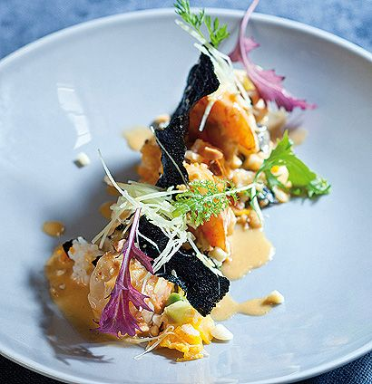 Prawns with butternut rice, red curry cream and seaweed crisps. A real show stopper by Chef Luke Dale-Roberts