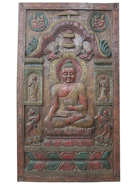 Hand Carved Wall Panels Indian Buddha Holding Alms by MOGULGALLERY