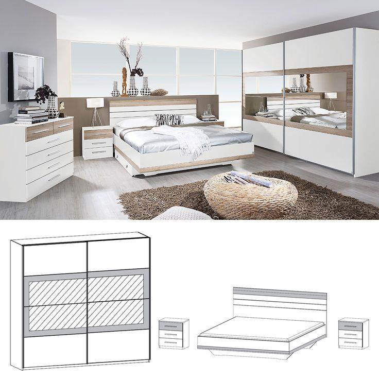Komplett Schlafzimmer Tarragona 4tlg. 160cm Bett Weiß Eiche Sanremo Jetzt beste …