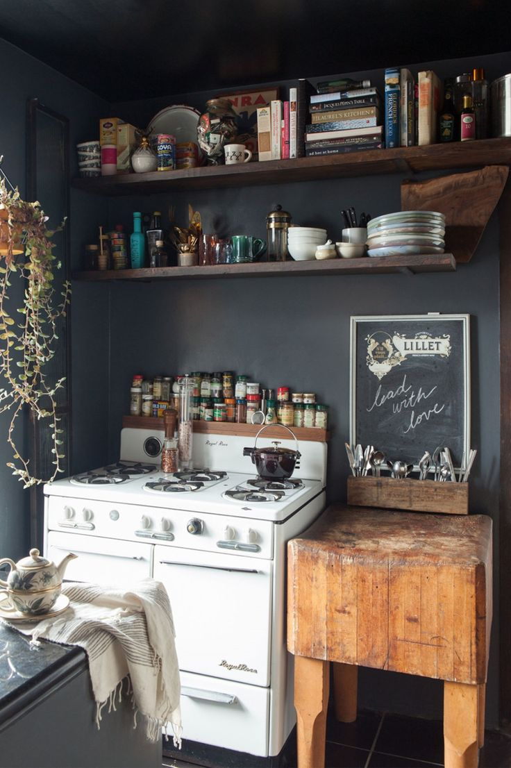 Black and white rustic kitchen with boho and vintage style.