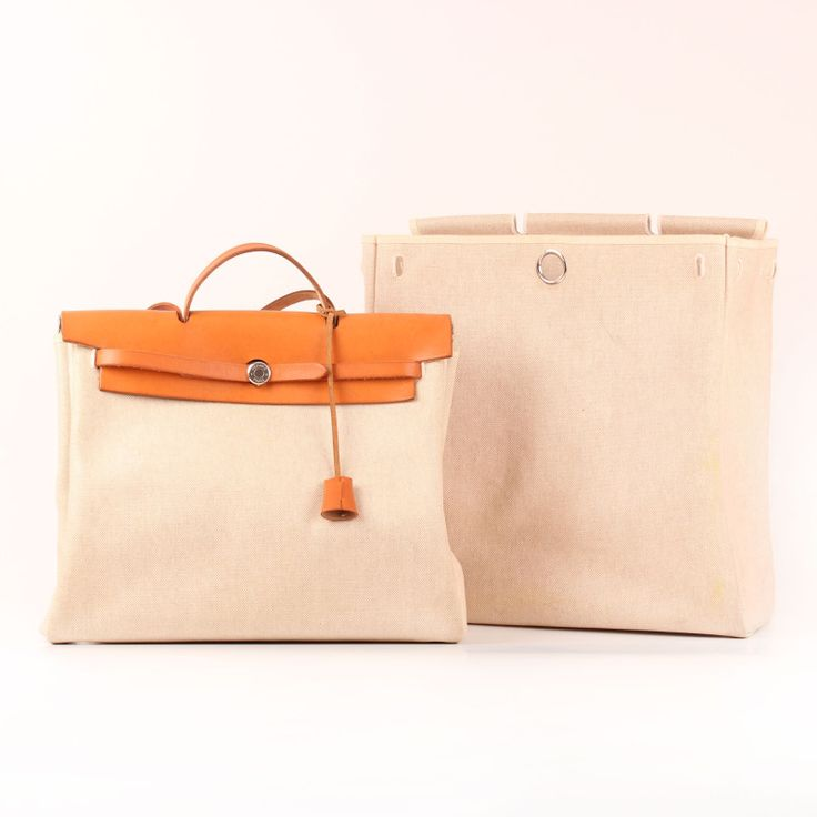 Hermès Herbag in ecru GM canvas and natural leather. 2 in 1. Travel/bag.