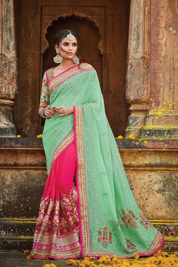 Green Jacquard Wedding Saree