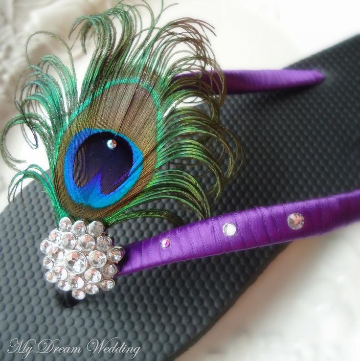 Purple Flip Flops. Peacock Feather Black- Purple Flip flops with Swarovski Crystals ,made in your wedding colors PURPLE-TROPICAL WEDDING-. $34.99, via Etsy.