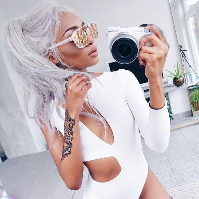 My sunglasses by @unijuxta finally arrived love them! Use code 'nyanebabe' at checkout. White bodysuit by @boomboomthelabel