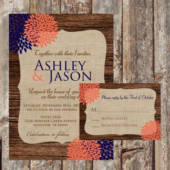 Rustic Wood Wedding Invitation Suite, Navy And Coral Wedding Invitation