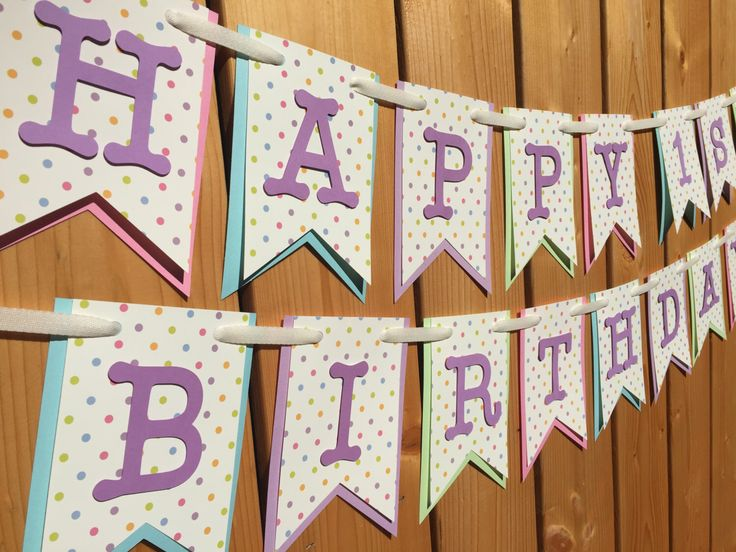 Custom Pastel Polka Dot Banner, Banner, Birthday Banner, Happy Birthday Banner, Birthday Decorations, Girl Birthday, First Birthday by JaeMakes on Etsy https://www.etsy.com/listing/267645506/custom-pastel-polka-dot-banner-banner