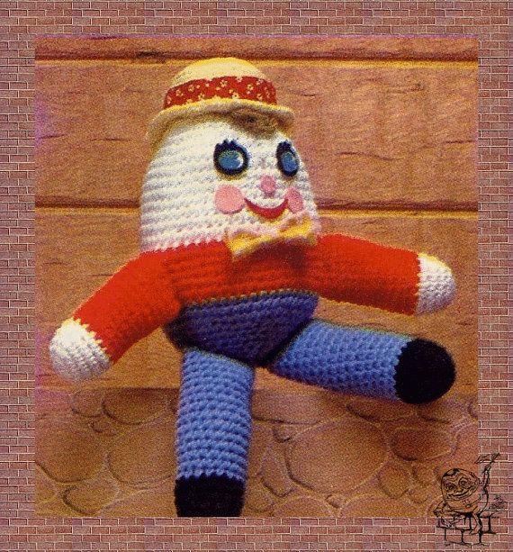 Vintage 1970s Crochet Pattern to make A Cute Humpty Dumpty Doll Stuffed Toy Soft Body Plush Toy by PDF Immediate Digital Delivery