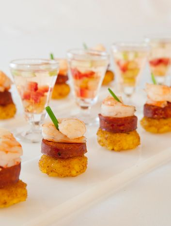 Mary Giuliani Catering & Events pairs one-bite paella with shrimp and chorizo with sips of sangria.