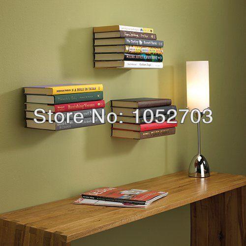 Hot! 2PCS Creative Hidden Conceal Floating Invisible Bookshelf Book Bracket Holder Home Wall Decor Wallmounted Metal Bracket(China (Mainland...
