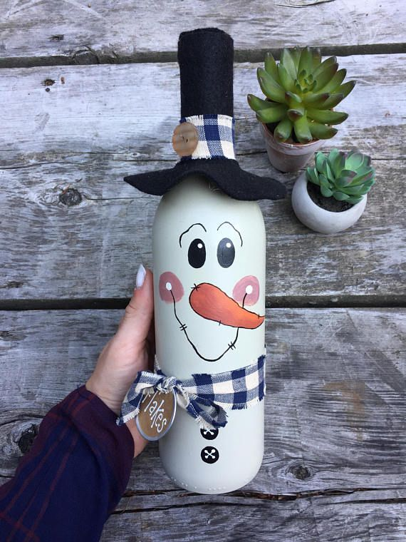 Botella de vino botella vino de muñeco de nieve pintado a mano