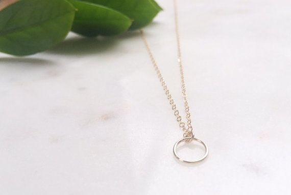 Gold Circle Necklace / Circle Necklace / Gold by WildAboutFrank