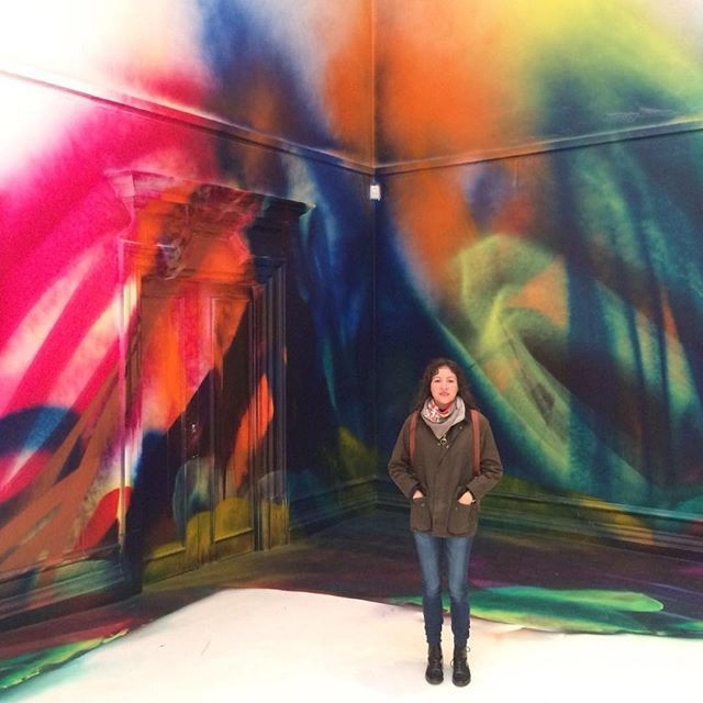 @southlondongallery  Spray painted stencilled installation!  Image: Katharina Grosse, This Drove my Mother up the Wall, 2017. southlondongallery#katharinagrosse #southlondongallery #exhibition #painting #stencil #spraypaint #acrylic #installation #lava #victorian