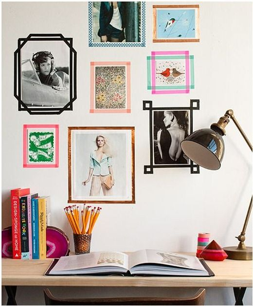washi tape picture frames. Would be great for a teens room