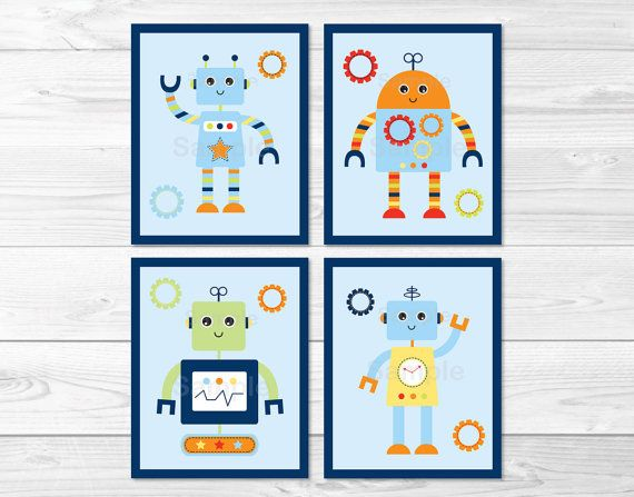Robot Baby Bots Nursery Wall Art PRINTABLE by LittlePrintsParties