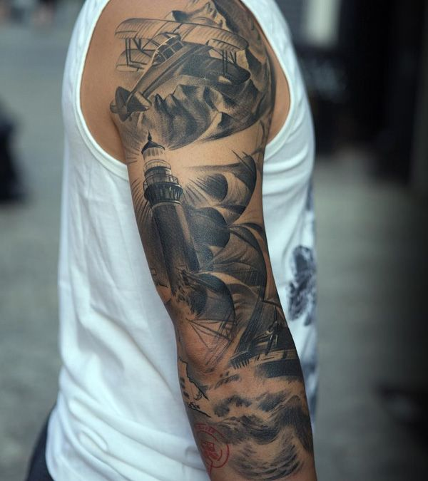 Boat and lighthouse full sleeve tattoo - 100 Boat Tattoo Designs <3 <3