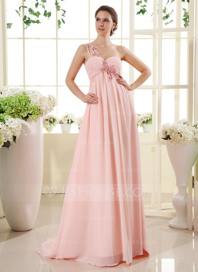 Maternity Bridesmaid Dresses - $131.49 - Empire One-Shoulder Sweep Train Chiffon Maternity Bridesmaid Dress With Ruffle Lace Beading (045022469) http://jjshouse.com/Empire-One-Shoulder-Sweep-Train-Chiffon-Maternity-Bridesmaid-Dress-With-Ruffle-Lace-Beading-045022469-g22469