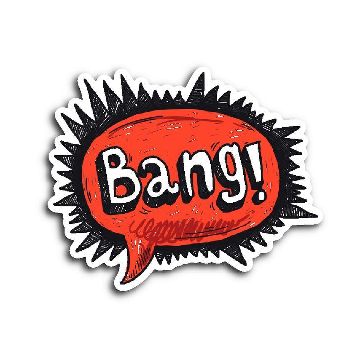 Hand Drawn Comic Book Speech Balloon Stickers - Bang!