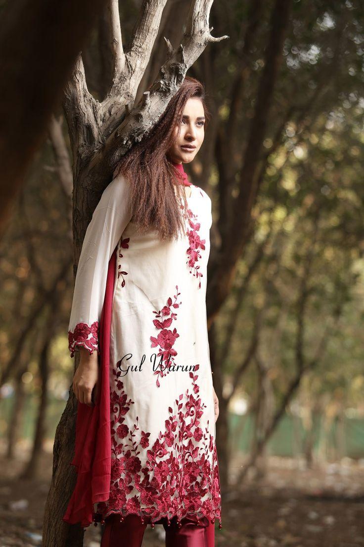 Pakistani Designer Dresses - Lowest Prices - Cream and Red Embroidered Dress by Gul Warun - Dresses - Latest Pakistani Fashion