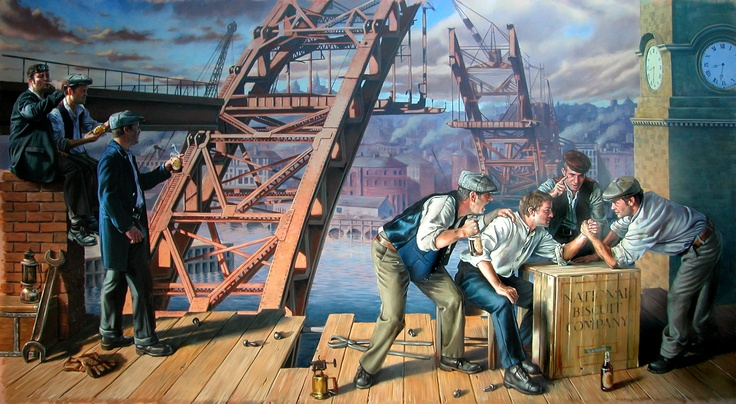 Life size #mural of the construction of The Tyne Bridge. Hand painted and oil on canvas.