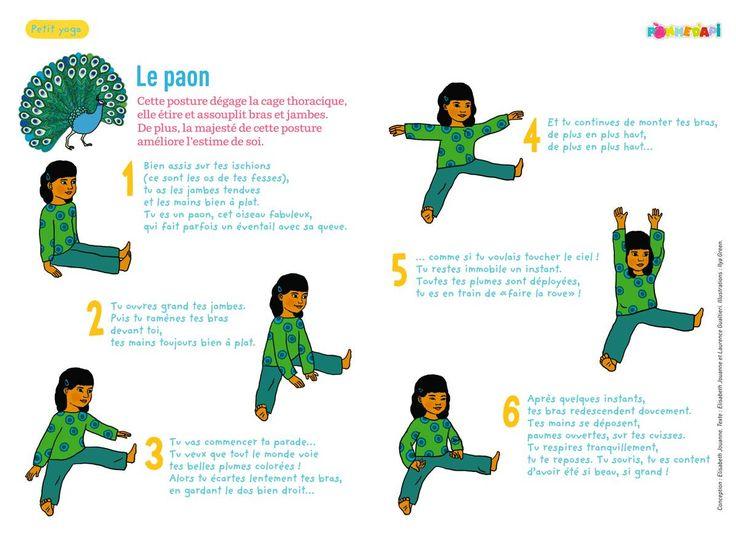 Posture du paon. Yoga des petits.