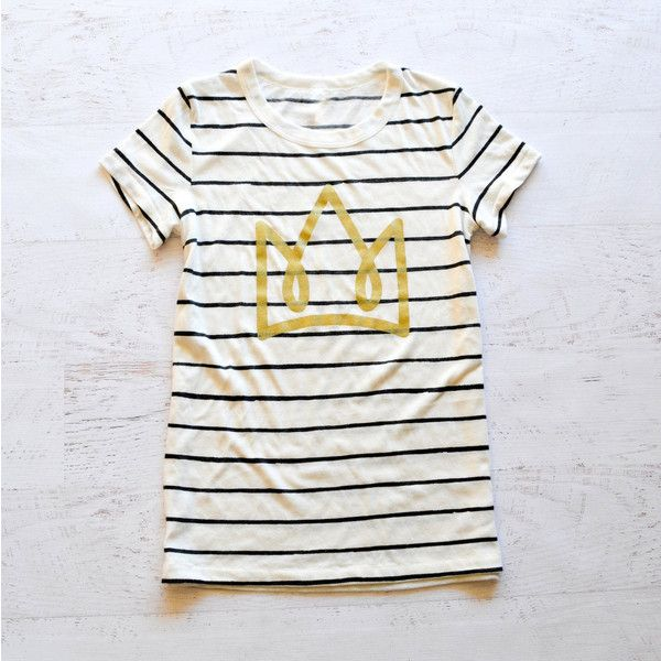 Crown Striped Women's Tee Limited Edition ($34) ❤ liked on Polyvore featuring tops, t-shirts, silver, women's clothing, white stripes t shirt, slim t shirts, slim fit t shirts, stripe tee and loose white t shirt