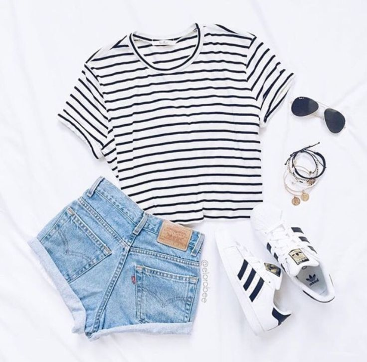 black and white striped crop top + light washed high waisted shorts + adidas sneakers