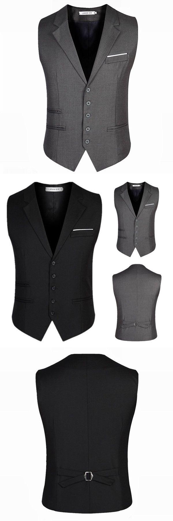 Plus Size Formal Fashion Business Suit Collar Vest Slim Fit Pure Color Waistcoats for Men