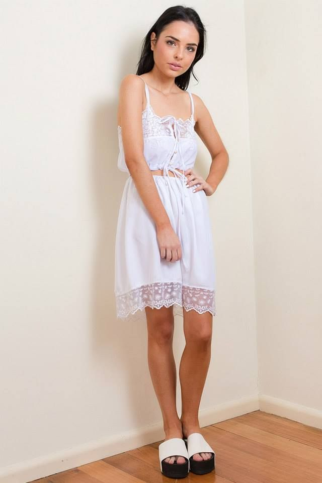 Her Pony Club collection. White silky lace feminine style. Spring racing fashion inspiration. Festival outfit.