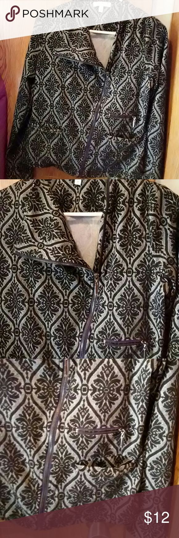 Chaus Zip Jacket   sz M Elegant yet funky zipper jacket.    Black and grey.with Art Deco pattern. 2 small pockets on the front. Chaus , size M.  Poly/Rayon/Spandex Armpit to Armpit- 19.5 inches  Sleeve- 22.5 inches  Length- 22 inches  Smoker and pets in the home. Please do not purchase if this is an issue for you. Questions and offers are welcome.  Thanks. Chaus Jackets & Coats Blazers