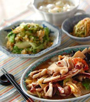 イカと野菜の中華炒めの献立