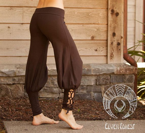 Lace Up Yoga Harem Pant with Cut Out lace up by ElvenForest, $84.00
